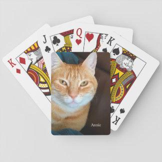 Gato de gato malhado alaranjado jogo de baralho
