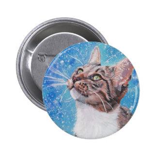 Gato de gato malhado bonito das belas artes na bóton redondo 5.08cm