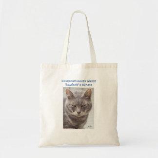 Gato de gato malhado cinzento sacola tote budget