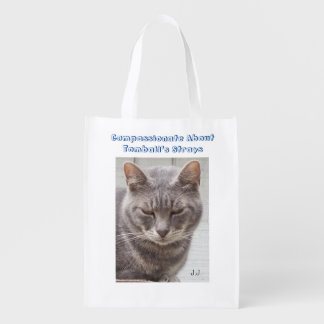 Gato de gato malhado cinzento sacolas reusáveis