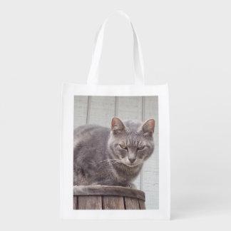 Gato de gato malhado cinzento sacola ecológica para supermercado