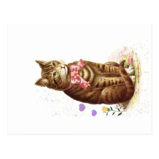 Gato de gato malhado clássico do cartão do vintage