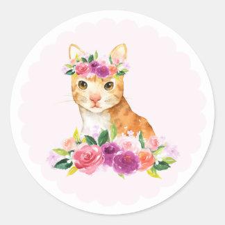 Gato de gato malhado da aguarela com etiqueta