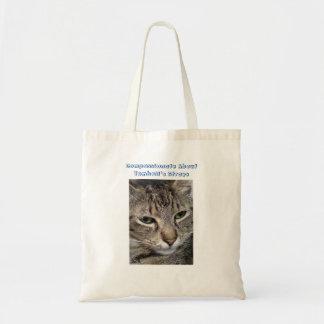 Gato de gato malhado de Brown Sacola Tote Budget