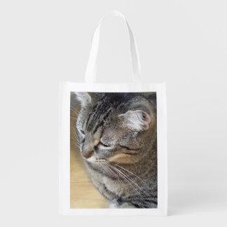 Gato de gato malhado de Brown Sacola Reusável