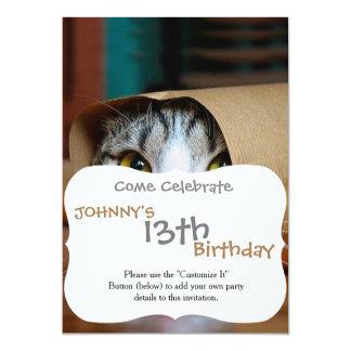 Gato de papel - gatos engraçados - meme do gato - convite 12.7 x 17.78cm