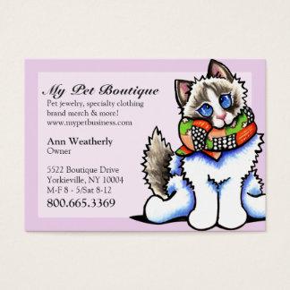 Gato de Ragdoll do rico do boutique do animal de Cartão De Visitas