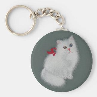 Gato de seda chinês do branco de imagem chaveiro