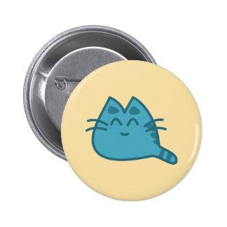 Gato de sorriso azul do gatinho bóton redondo 5.08cm