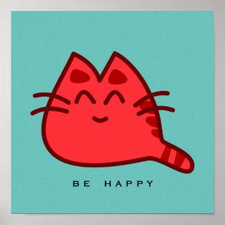 Gato de sorriso vermelho do gatinho poster
