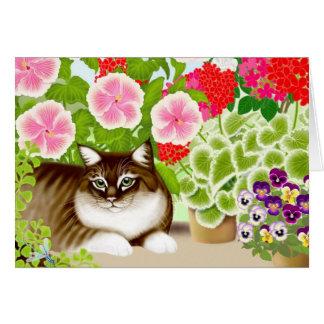 Gato de tigre na selva do jardim cartão