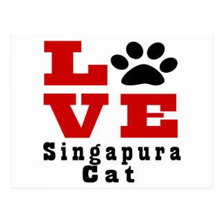 Gato Designes de Singapura do amor Cartão Postal