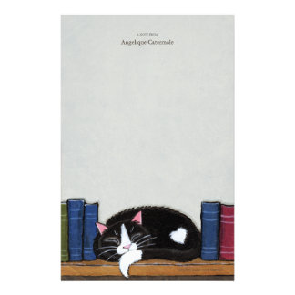 Gato do amor   do livro em um papel de nota da bib papel personalizado