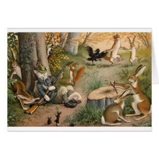 Gato do caçador do vintage no cartão de nota das