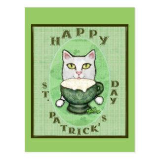 Gato do café irlandês, cartão do dia de St Patrick