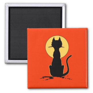 Gato do Dia das Bruxas com ~ da lua Ímã Quadrado