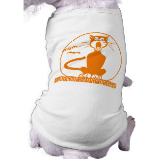 Gato do Dia das Bruxas do vintage Camisa Sem Mangas Para Cachorro