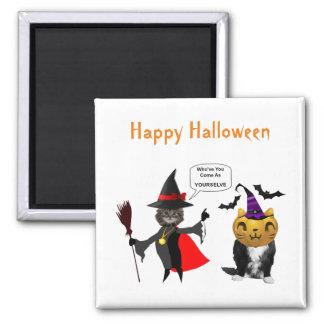 Gato do Dia das Bruxas engraçado e ímãs quadrados Ímã Quadrado