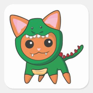 Gato do dinossauro adesivo quadrado