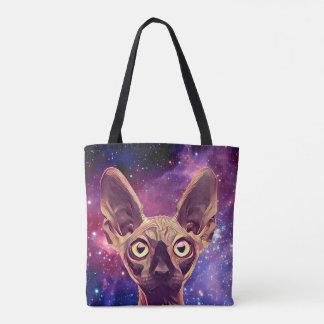 gato do espaço bolsas tote