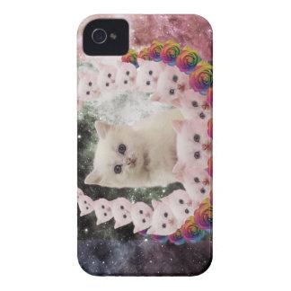 gato do espaço nas flores capinhas iPhone 4