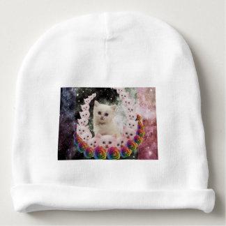 gato do espaço nas flores gorro para bebê