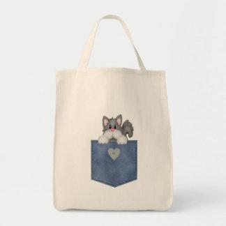 Gato do gatinho do bolso de Jean Sacola Tote De Mercado