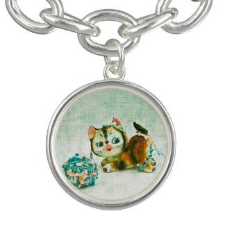 Gato do gatinho do vintage braceletes com charms