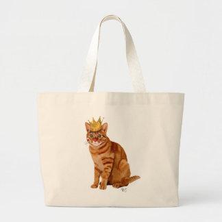 Gato do gengibre com cheio da coroa sacola tote jumbo