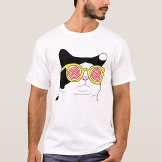 Gato do hipster camiseta