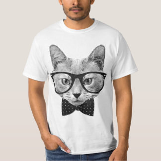 Gato do hipster do vintage camiseta