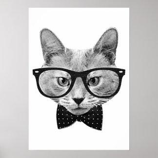 Gato do hipster do vintage pôster