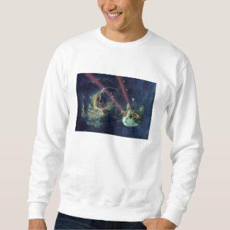 Gato do laser com vidros no espaço moletom
