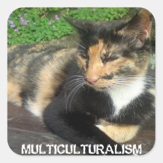 Gato do multiculturalismo adesivo quadrado