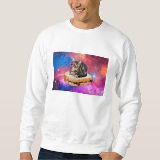 gato do pão - gato do espaço - gatos no espaço moletom