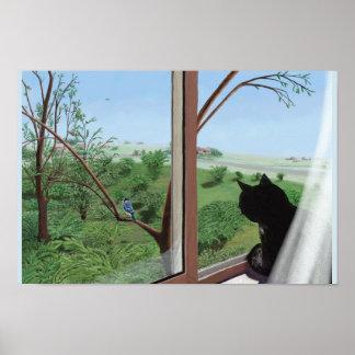 Gato do poster da arte na janela que olha a