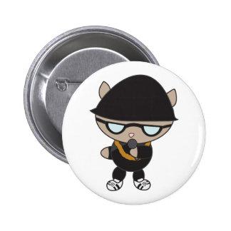Gato do rapper no chapéu de Bell Bóton Redondo 5.08cm