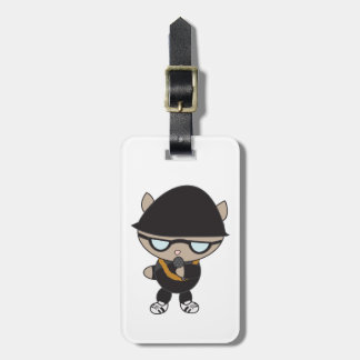 Gato do rapper no chapéu de Bell Etiqueta De Mala De Viagem
