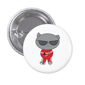 Gato do rapper no terno de trilha botons
