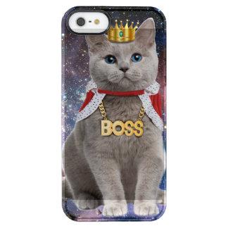 gato do rei no espaço capa para iPhone SE/5/5s clear