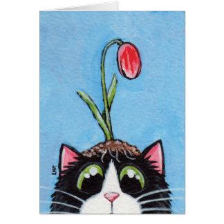 Gato do smoking com a tulipa na cabeça - cartão da