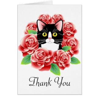Gato do smoking e cartões de agradecimentos