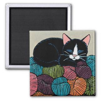 Gato do sono na montanha da ilustração do fio ímã quadrado