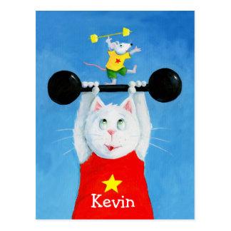 Gato do treinamento & cartão engraçado do rato cartão postal