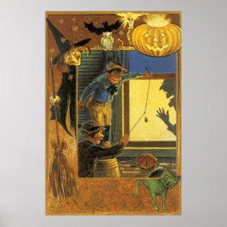 Gato do verde do bastão da coruja da bruxa da lant poster