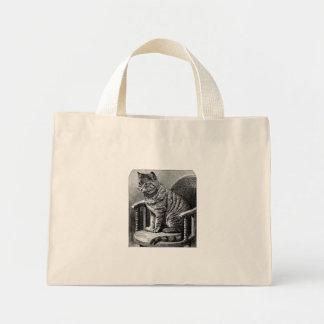Gato do vintage na sacola da foto do balancim bolsas para compras