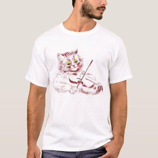 Gato do violinista do vintage pela camisa de Louis