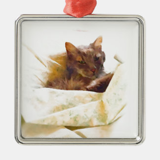 Gato doce em folhas de cama ornamento quadrado cor prata