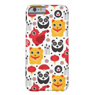 Gato, dragão, e panda afortunados de China Capa Barely There Para iPhone 6