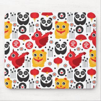 Gato, dragão, e panda afortunados de China Mouse Pad